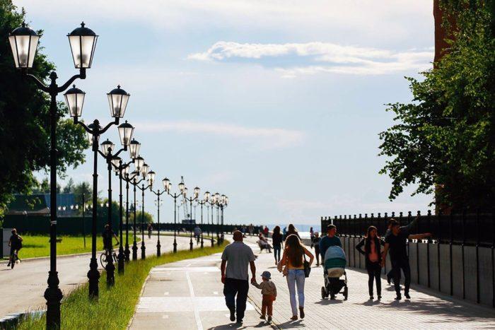 Московская набережная города Чебоксары