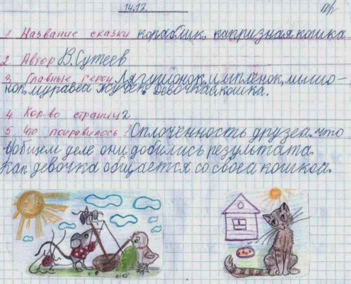 Читательский дневник: образец