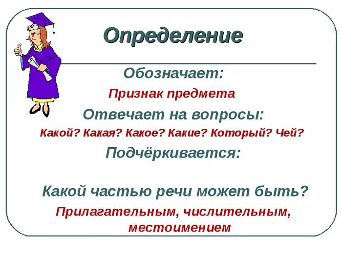Определение как второстепенный член предложения